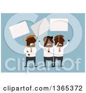 Flat Design Black Businessmen On Strike On Blue