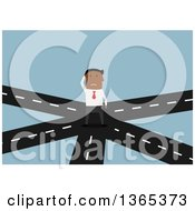 Clipart Of A Flat Design Black Businessman Thinking On Cross Roads On Blue Royalty Free Vector Illustration