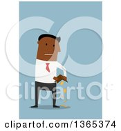Clipart Of A Flat Design Black Businessman Pouring Coins From His Wallet On Blue Royalty Free Vector Illustration