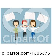 Clipart Of Flat Design White Business Women On Strike On Blue Royalty Free Vector Illustration