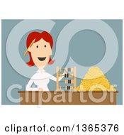Clipart Of A Flat Design White Businesswoman Counting Coins And Using An Abacus On Blue Royalty Free Vector Illustration