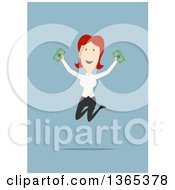 Clipart Of A Flat Design White Businesswoman Holding Cash And Jumping On Blue Royalty Free Vector Illustration by Vector Tradition SM