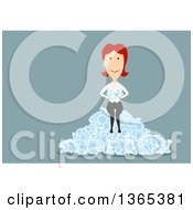Clipart Of A Flat Design White Businesswoman Holding And Sitting On Diamonds On Blue Royalty Free Vector Illustration by Vector Tradition SM