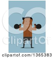 Clipart Of A Flat Design Black Man Working Out With Kettlebells On Blue Royalty Free Vector Illustration by Vector Tradition SM