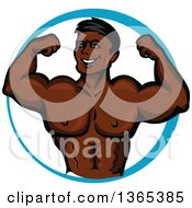 Clipart Of A Cartoon Strong Black Male Bodybuilder Flexing His Muscles In A Blue Circle Royalty Free Vector Illustration