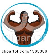 Clipart Of A Cartoon Strong Black Male Bodybuilder Flexing His Muscles In A Blue Circle Royalty Free Vector Illustration by Seamartini Graphics