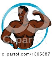 Clipart Of A Cartoon Strong Black Male Bodybuilder Flexing His Muscles In A Blue Circle Royalty Free Vector Illustration by Vector Tradition SM