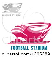 Clipart Of Pink And Gray Sports Stadium Arena Buildings With Text Royalty Free Vector Illustration