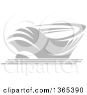 Clipart Of A Grayscale Sports Stadium Arena Building Royalty Free Vector Illustration