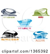 Clipart Of Blue Green And Black Sports Stadium Arena Buildings With Text Royalty Free Vector Illustration