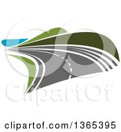 Clipart Of A Curving Two Lane Road Royalty Free Vector Illustration by Vector Tradition SM