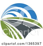 Clipart Of A Curving Two Lane Road Royalty Free Vector Illustration