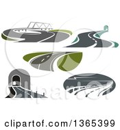 Clipart Of Two Lane Highway Roads Royalty Free Vector Illustration