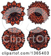 Clipart Of Navy Blue And Salmon Pink Kaleidoscope Flower Designs Royalty Free Vector Illustration