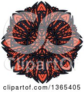 Clipart Of A Navy Blue And Salmon Pink Kaleidoscope Flower Design Royalty Free Vector Illustration by Seamartini Graphics