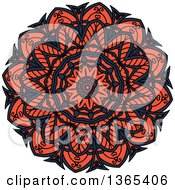 Clipart Of A Navy Blue And Salmon Pink Kaleidoscope Flower Design Royalty Free Vector Illustration