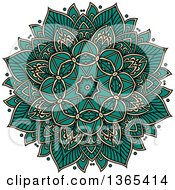 Clipart Of A Turquoise And Beige Kaleidoscope Flower Design Royalty Free Vector Illustration by Vector Tradition SM