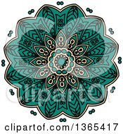 Clipart Of A Turquoise And Beige Kaleidoscope Flower Design Royalty Free Vector Illustration