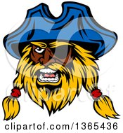 Cartoon Tough Black Male Pirate Captain With A Blond Beard Wearing An Eye Patch And Blue Hat
