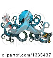 Clipart Of A Blue Cartoon Pirate Octopus Holding A Knife And Axe Royalty Free Vector Illustration