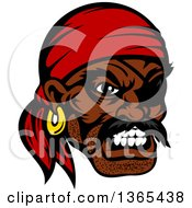 Clipart Of A Cartoon Tough Black Male Pirate Wearing A Red Bandanana And Eye Patch Royalty Free Vector Illustration