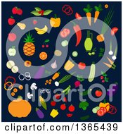 Clipart Of Veggies On Navy Blue Royalty Free Vector Illustration