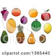 Clipart Of Melons And Fruits Royalty Free Vector Illustration