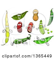 Clipart Of Cartoon Peas Beans And Peanut Characters Royalty Free Vector Illustration