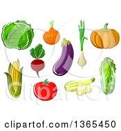 Clipart Of Cartoon Veggies Royalty Free Vector Illustration