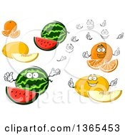 Clipart Of Oranges And Melons Royalty Free Vector Illustration