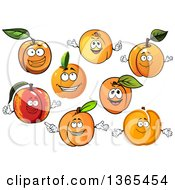 Clipart Of Apricot Characters Royalty Free Vector Illustration