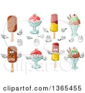 Clipart Of Popsicles And Ice Cream Sundaes Royalty Free Vector Illustration
