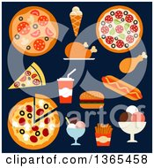 Clipart Of Fast Foods On Navy Blue Royalty Free Vector Illustration