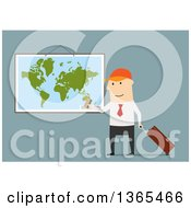 Clipart Of A Flat Design Traveling White Businessman With A Credit Card Map And Luggage On Blue Royalty Free Vector Illustration by Vector Tradition SM