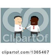 Clipart Of A Flat Design Black Businessman And White Man Shaking Hands On Blue Royalty Free Vector Illustration