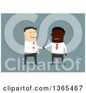 Poster, Art Print Of Flat Design Black Businessman And White Man Shaking Hands On Blue