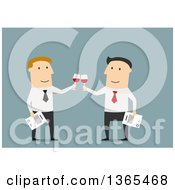 Clipart Of Flat Design White Business Men Toasting On Blue Royalty Free Vector Illustration