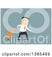Clipart Of A Flat Design White Businessman Walking With Rolling Luggage On Blue Royalty Free Vector Illustration