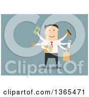Clipart Of A Flat Design White Businessman Shopping On Blue Royalty Free Vector Illustration by Vector Tradition SM