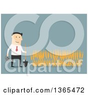 Clipart Of A Flat Design White Businessman Growing A Wheat Crop On Blue Royalty Free Vector Illustration by Vector Tradition SM