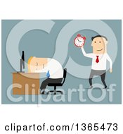 Clipart Of A Flat Design White Businessman Sleeping At His Desk His Boss About To Wake Him Up On Blue Royalty Free Vector Illustration