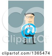 Clipart Of A Flat Design White Businessman Holding An Arobase Symbol On Blue Royalty Free Vector Illustration by Vector Tradition SM
