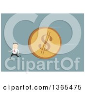Clipart Of A Flat Design White Businessman Running From A Giant Coin On Blue Royalty Free Vector Illustration by Vector Tradition SM