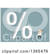 Clipart Of A Flat Design White Businessman Looking At A Giant Percent Symbol On Blue Royalty Free Vector Illustration