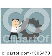 Clipart Of A Flat Design White Businessman Pushing A Gear On Blue Royalty Free Vector Illustration