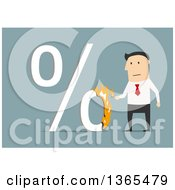 Clipart Of A Flat Design White Businessman Setting A Percent Symbol On Fire On Blue Royalty Free Vector Illustration