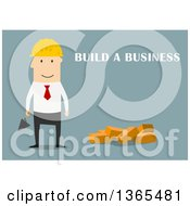 Clipart Of A Flat Design White Businessman Contractor With Build A Business Text On Blue Royalty Free Vector Illustration