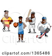 Happy Black Male Soccer Basketball Baseball And Hockey Atheletes