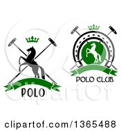 Clipart Of Silhouetted Rearing Horse And Polo Sports Designs With Text Royalty Free Vector Illustration by Vector Tradition SM