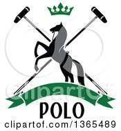 Clipart Of A Black Silhouetted Rearing Horse Over Crossed Polo Mallets With A Crown And A Blank Green Banner With Text Royalty Free Vector Illustration by Vector Tradition SM